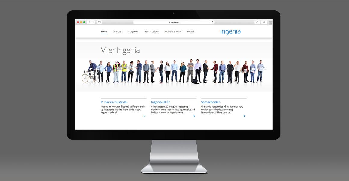 Arbeidsprøve: Nettsiden til Ingenia – klikk for å gå videre