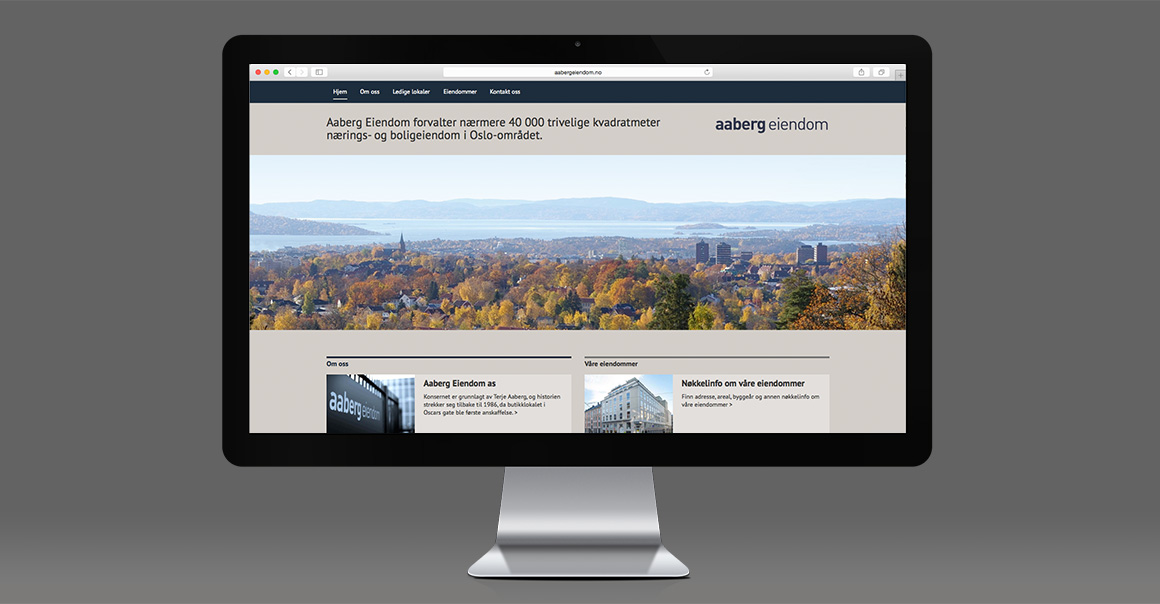 Arbeidsprøve: Nettsiden til Aaberg Eiendom - klikk for å gå videre
